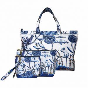 sac de plage chinoiserie bleue