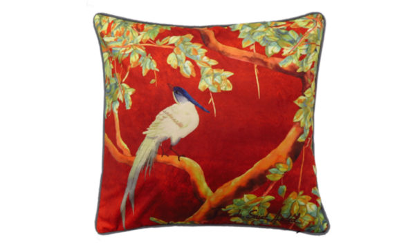 coussin decoration chinoiserie rouge