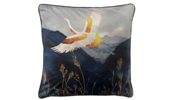 coussin velours heron oiseau bleu