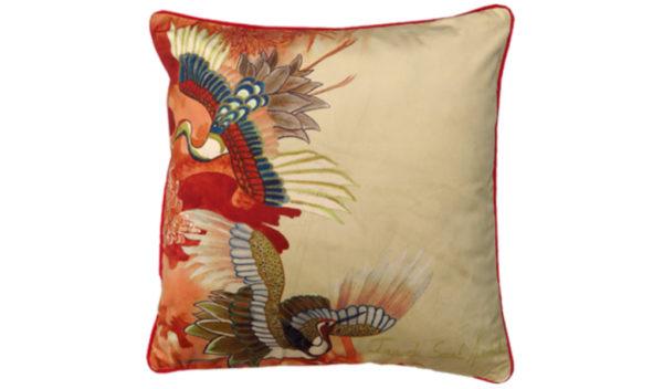 housse de coussin oiseau heron rouge