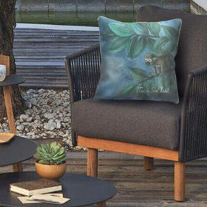 patio seat cushions with jungle design by the artist ina de saint andeol