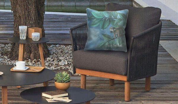 coussins originaux avec un design de jungle par l'artiste ina de saint andeol