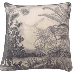 coussin tropique jungle velours noir et blanc