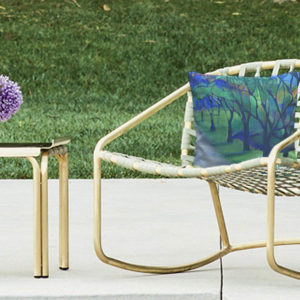 settee cushions with a landscape design by the artist ina de saint andeol
