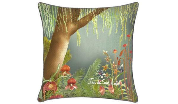 housse coussin decoration avec un design de foret tropicale par l'artiste ina de saint andeol
