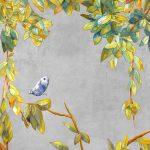 trompe l'oeil adhesif vinyl chinoiserie watercolor grey