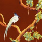 vinyl wallpaper trompe l'oeil painting china love birds red