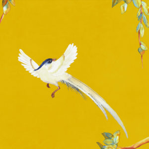vinyl wallpaper trompe l'oeil painting china love bird yellow