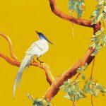 vinyle wallpaper trompe l'oeil painting china love bird yellow