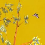 trompe l'oeil adhesif vinyl chinoiserie watercolor yellow
