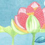 vinyle wallpaper trompe l'oeil fish japan lotus