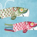 vinyle wallpaper trompe l'oeil fish japan kite