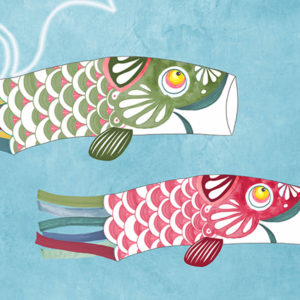 vinyle wallpaper trompe l'oeil fish japan