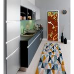 fridge trompe l'oeil sticker painting chinoiserie red interior