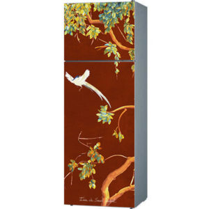 fridge door trompe l'oeil sticker painting watercolor chinoiserie red