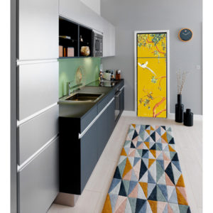 fridge trompe l'oeil sticker painting chinoiserie yellow interior