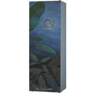 fridge door trompe l'oeil sticker painting tropical leaves moon light