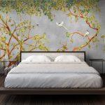 papier peints adhesifs aquarelle trompe l'oeil chinoiserie grise