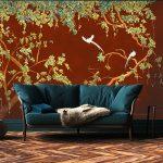 papier peints adhesifs aquarelle trompe l'oeil chinoiserie rouge