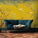 papier peints adhesifs aquarelle dressing trompe l'oeil chinoiserie jaune