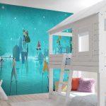 Adhésifs décoration papiers peints trompe l'oeil village fantastique