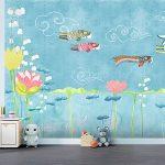 Adhésifs décoration papiers peints poissons asiatiques