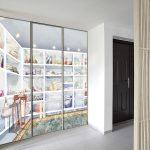 closet door trompe l'oeil sticker painting watercolor dressing perspective