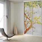 closet door trompe l'oeil adhesif vinyl chinoiserie watercolor grey concrete