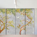 closet door trompe l'oeil sticker watercolor grey concrete