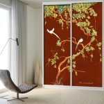 closet door trompe l'oeil sticker watercolor red