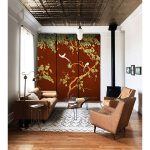 closet door trompe l'oeil sticker watercolor red interior