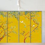 closet door trompe l'oeil sticker watercolor yellow