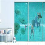 closet door trompe l'oeil sticker painting village on water