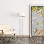 vinyl door sticker trompe l'oeil painting chinoiserie cherry tree love birds concrete grey traditionnal