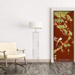 vinyl door sticker trompe l'oeil painting chinoiserie cherry tree love birds red traditionnal