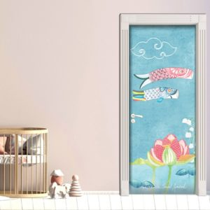 trompe l'oeil sticker door painting blue village