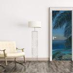 door trompe l'oeil sticker painting tropical leaves